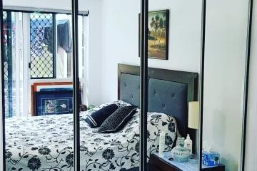 Black Frame Mirror Sliding Robe Doors